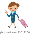 Cabin attendant with a suitcase and leaving for the flight 33015266