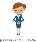 Cabin attendant bows to the customer 33015267