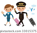 Pilot with a suitcase and cabin attendant 33015375