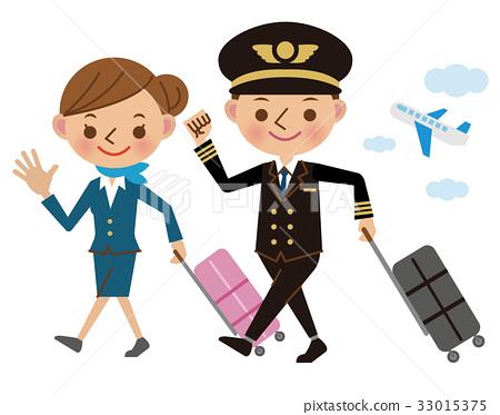 cabin attendant, stewardess, a suitcase 33015375
