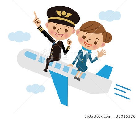 Pilot and cabin attendant to fly on a plane 33015376