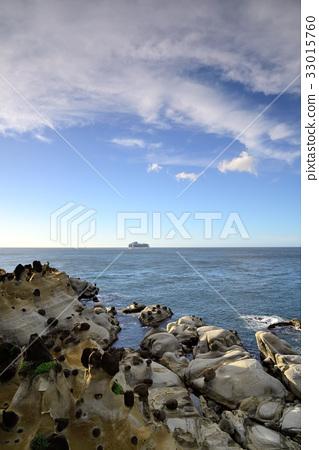 台灣 基隆 和平島公園 岩石 旅遊 郵輪 船 海 旅遊勝地 藍天 海平面 巨石 奇石 地質公園 雲彩 33015760