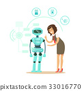 Businessman giving directions to humanoid robot 33016770