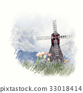 windmill and tulips watercolor 33018414