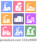 Industrial building icons, flat design 33018989