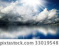 Dramatic clouds and sun over sea 33019548