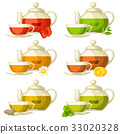 Types of tea. Set of glass cups and kettles with 33020328