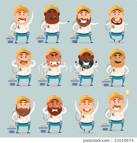 Set of electrician flat icons 33020674