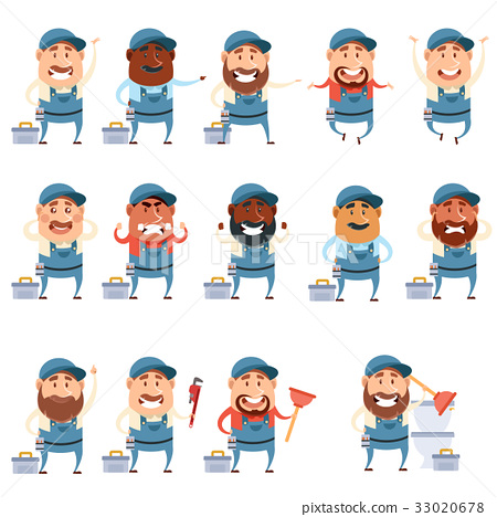 Set of flat plumber icons 33020678