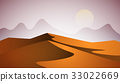 Desert landscape. Pyramid and sun. 33022669