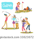 Set of vector illustrations of golf games. 33023072