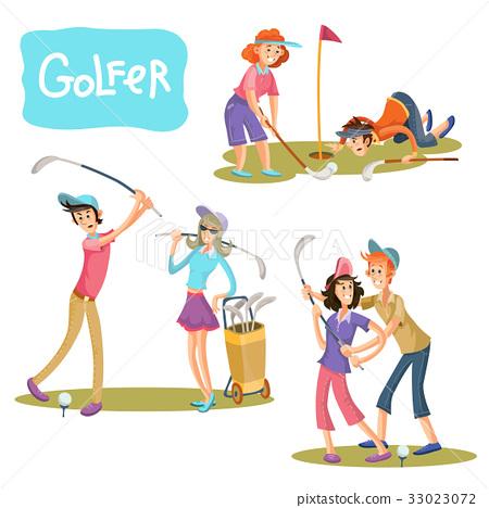 Set of vector illustrations of golf games. 33023072