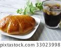 크림 빵과 아이스 커피 33023998