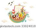 the seven deities of good fortune, new year's card, vector 33024010