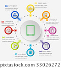 Infographic template with gadget icons 33026272