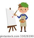 하얀 캔버스에 그림을 그리는 화가 · 화가 33026390