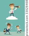 successful businessman with telescope on cloud 33026468