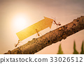 Ants carry rising arrow for business graph, team 33026512