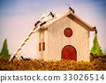 Ants build a house with ladder, teamwork concept 33026514