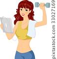 Girl Multitasking Tablet Dumbbell 33027169