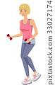Girl Dumbbells Jogging 33027174
