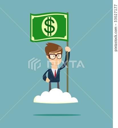 Power of money. Proud man raising a dollar flag on 33027177