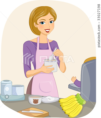Girl Mom Baby Prepare Meal 33027198
