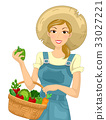 Girl Vegetables Basket Harvest 33027221