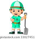 cute hiker boy holding shovel 33027451