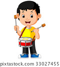 Kid Playing with a Drum 33027455