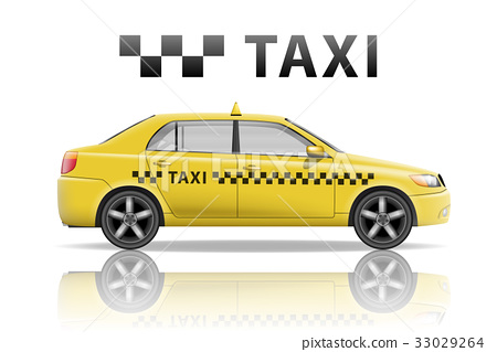 Yellow taxi cab isolated on white background 33029264
