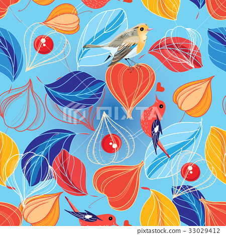 Seamless vector pattern of leaves and physalis  33029412