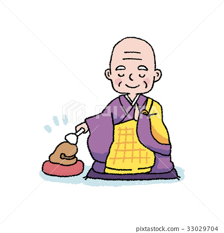 A monk who knocks a wooden fish 33029704