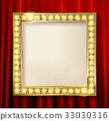 Empty golden painting frame on red curtain wall 33030316
