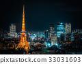 Tokyo tower .Night view of Tokyo metropolitan city 33031693