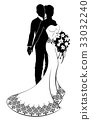 Wedding Silhouette Bride and Groom Bouquet  33032240