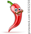 Red Pepper Cartoon Character with Moustache 33032250