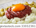 Steak tartare with egg yolk, onions and pickles 33032361