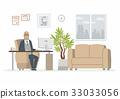Office Head - modern vector cartoon business 33033056