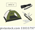 Set of camping equipment drawing vector. 33033797