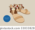 pom pom sandals Bohemian fashion style vector. 33033828