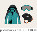 set of clothing for sport in winter vector. 33033830