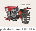 plows machine - Walking Tractor ,sketch vector. 33033837