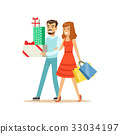 Happy family couple walking with shopping bags and 33034197