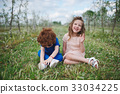 little boy and girl in blooming garden 33034225