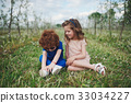 little boy and girl in blooming garden 33034227