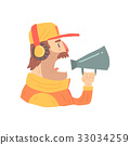 Pit stop technician worker in an orange uniform 33034259