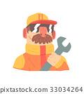 Pit stop technician worker in an orange uniform 33034264