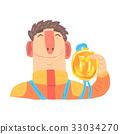 Car racing driver man in an orange uniform holding 33034270