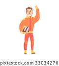Car racing driver man in an orange uniform 33034276
